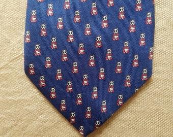 Vintage Carven Paris Toucan Birds Motif Silk Neck Tie
