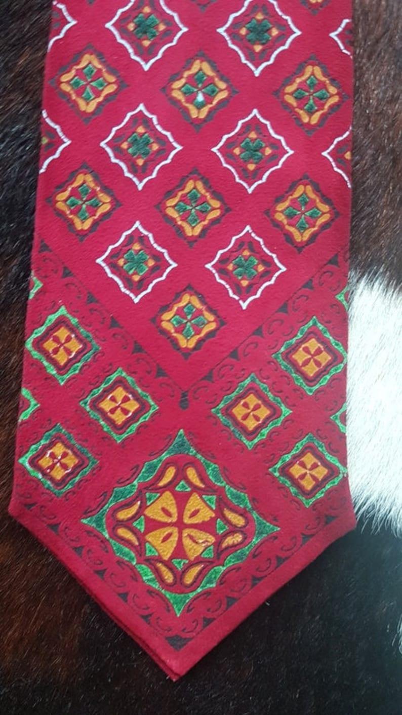 Geometric Printed Unique Vintage Handmade Suede Leather Tie