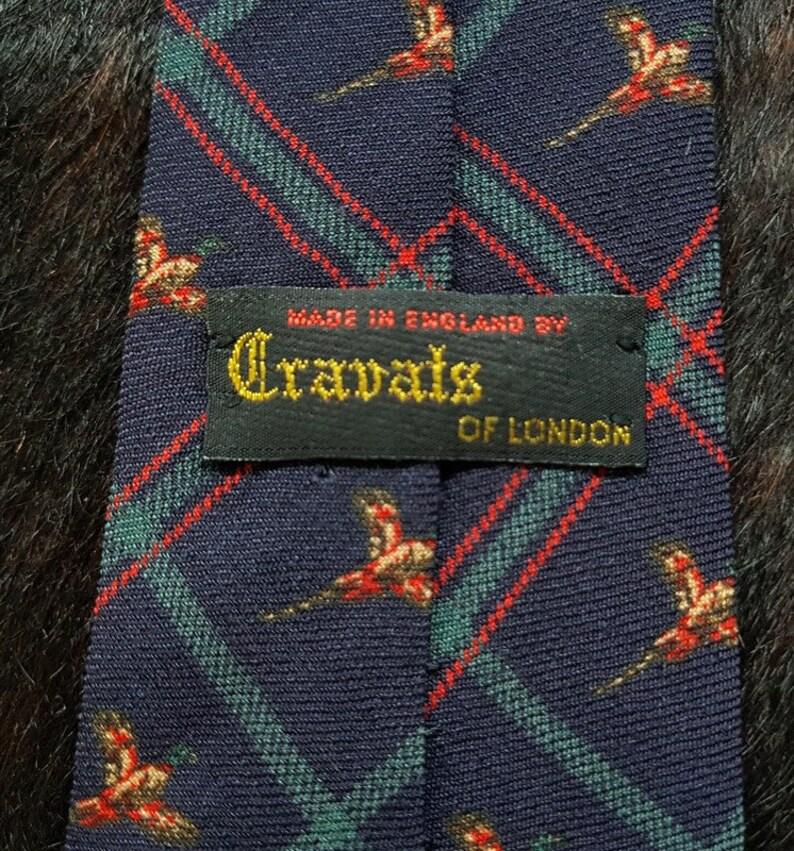 Birds Printed CRAVATS of LONDON Vintage Handmade Wool Tie
