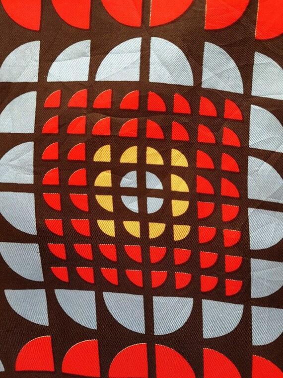 JEAN DESSES. Vintage Geometric Silk Scarf.