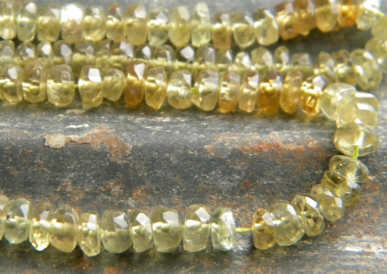 Grossular Garnet Garnets 15 12 Inch Strand 4 mm Micro Faceted Rondelles Roundelles Shades of Green and Brown