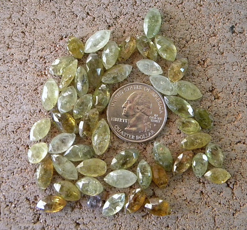 SALE     Green Grossular  Garnets Faceted Marquis Gemstones  48 Stones