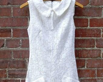 """Vintage 1960's 70's White Lace Romper Playsuit Jumpsuit Short-Shorts Waist-27"""""""