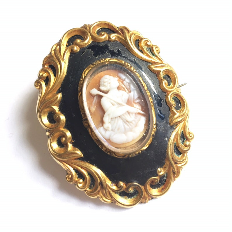 821b64a4e Antique Victorian Gold Filled Cameo Mourning Brooch Enamel | Etsy