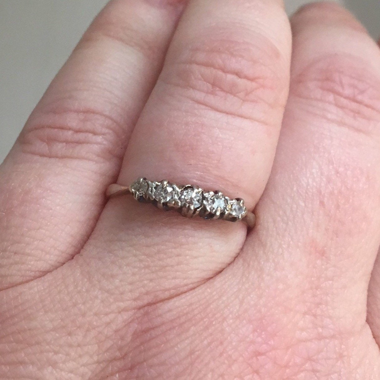 Vintage Gold Platinum Diamond Ring 18k Band Estate Antique | Etsy