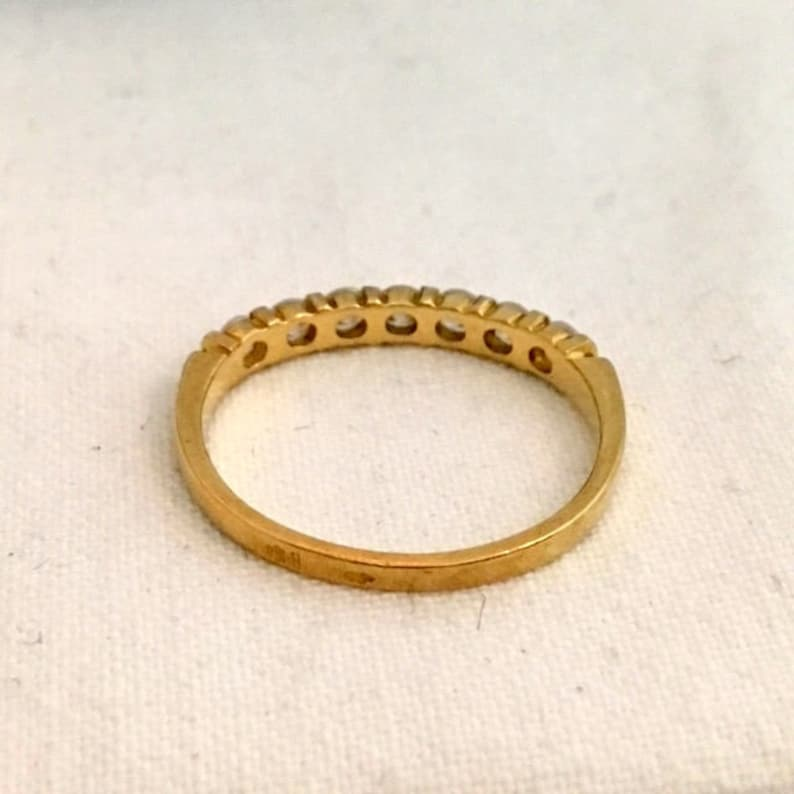 Vintage Wedding Band Half Eternity Ring 18kt Yellow Gold Cubic Zirconia Anniversary Gift Engagement