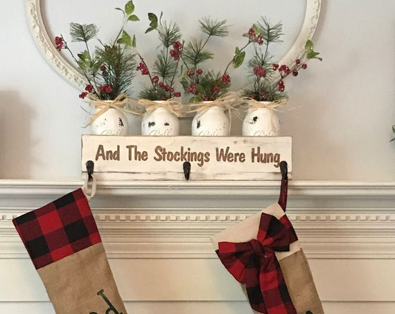 Christmas stocking holder-Personalized , Christmas Centerpiece , Christmas Stocking Holder, Personalized Christmas stocking hanger