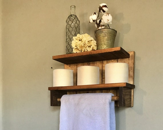 Bathroom shelf, Bathroom towel holder, Rustic towel Rack, Home Decor Bathroom, Towel Bar, Bathroom Towel Hanger
