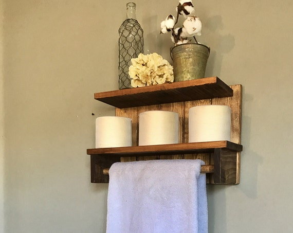 Rustic Shelves Bathroom Decor, Bathroom Wall Decor, Rustic Bathroom Wall, Storage Shelves, Wood Shelves, Wall Shelving