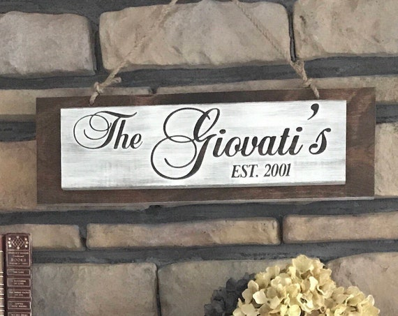 Housewarming Gift for the New Couple, Personalized with Family Name for A Living Room Decor