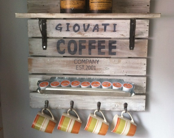 Coffee Sign, Coffee Bar, Coffee Bar Decor, Coffee Bar Shelf, Coffee Decor, Coffee Mug Holder, Personalized Coffee Bar