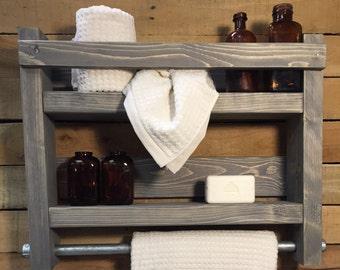 Bathroom Towel Rack, Wood Towel Rack, Bathroom Shelf, Industrial towel rack decor, Rustic towel rack, Bath towel rack, Bathroom shelf