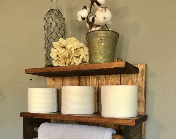 Farmhouse Bathroom, Farmhouse Shelf, Farmhouse Towel Holder, Shelving, Home Decor Farmhouse, Bathroom Shelves, Farmhouse Shelves, Rustic