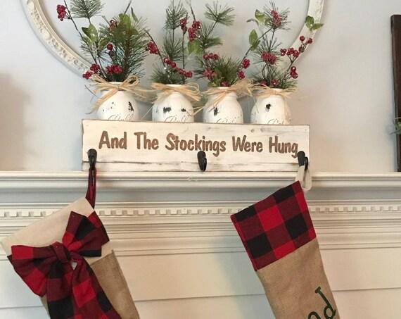Christmas stocking holder, Personalized Christmas Stocking Holder, Personalized Christmas stocking hanger, Christmas wooden box