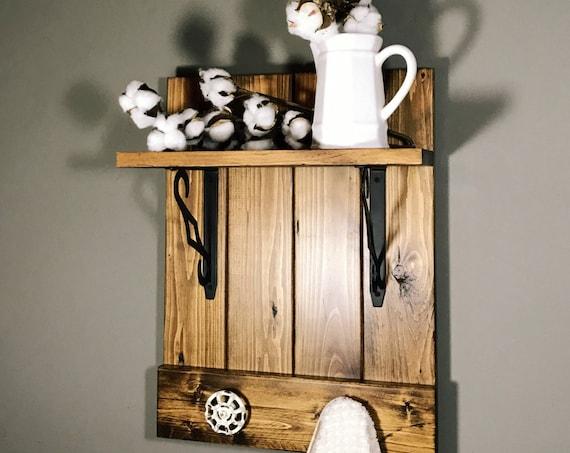 Rustic bathroom shelf, Bathroom towel rack, kitchen towel rack, Rustic decor, Farmhouse towel rack, Rustic bathroom towel rack, Industrial
