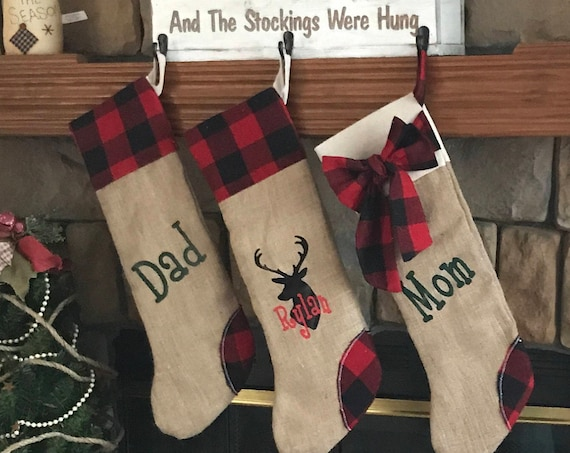 Monogrammed Christmas Stockings, Christmas Stockings Personalized, Stocking with Names, Family Christmas Stockings, Buffalo Plaid Stockings