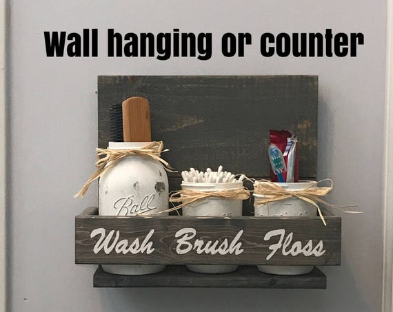 Bathroom Mason Jar Set, Bathroom Organizer, Bathroom Wall Decor, Toothbrush Holder, Bathroom Storage, New Home Gift