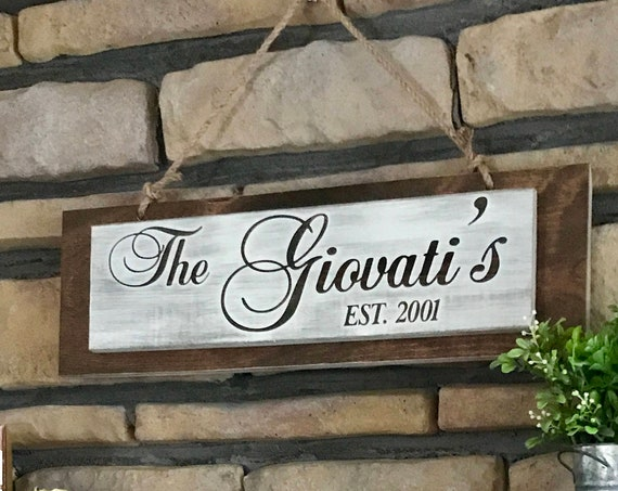 Family Last Name Sign, Personalized Wedding Shower Gift, Housewarming Gift, First Christmas Gift, Anniversary Gift, Rustic Sign, Name Sign