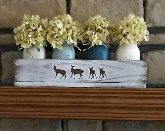Personalization Rustic Home Decor, Home and Living Rustic, Rustic Decor, Deer Decor, Country Decor, Home Decor Centerpiece, Mason Jar Decor