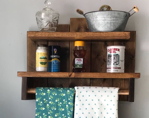Wood Shelf for Wall Hanging with Towel Bar for Kitchen Storage Wooden Shelves for Wall, Comes in many stains, Explore Now