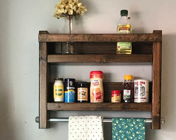 Spice Rack, Kitchen Storage, Wooden Spice Rack Wall Mounted, Kitchen Spice Rack, Farmhouse Decor