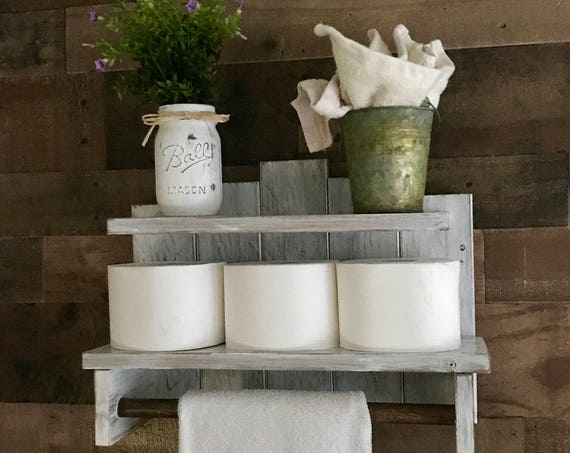 Wood Shelf Bathroom Decor, Bathroom Towel Storage, Farmhouse Bathroom Decor, Bathroom Decor Rustic, Bathroom  Shelf Rustic Bath Decor