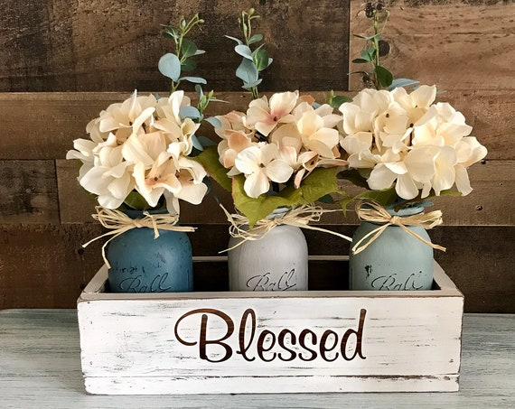 Dining Table Centerpiece, Table Decor, Floral Centerpiece, Mason Jar Decor, Floral Arrangement, Bedroom decor, Wood Box, Blessed Saying