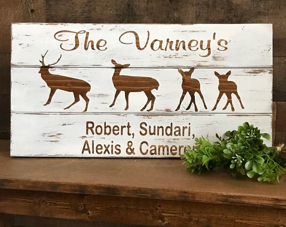 Personalized Family Sign, Family Wall Decor, Family Name Sign, Farmhouse Sign, Deer Sign, Personalized Christmas Gift