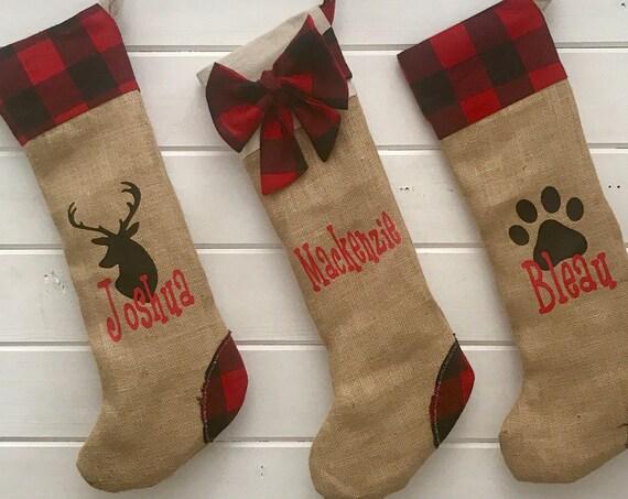 Handmade Christmas Stockings, Burlap Christmas Stockings, Handmade Stockings, Xmas Decoration, Personalized Xmas, Handmade Christmas Gift