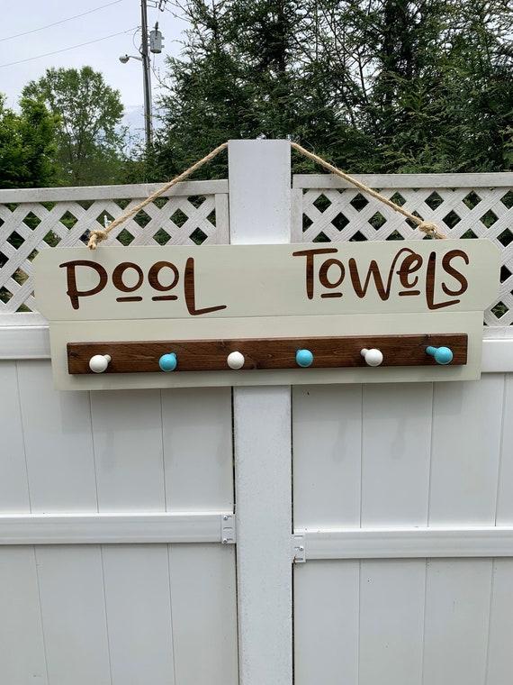 Towel Rack for Pool, Custom Beach Towel Rack, Wood Sign for Pool House, Pool Rack with Towel Hooks