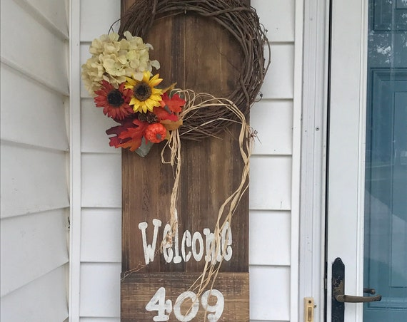 Fall Wreath, Farmhouse Fall Wreaths, Sunflower Wreath Rustic Decor, Address Plaque, Front Door Decor