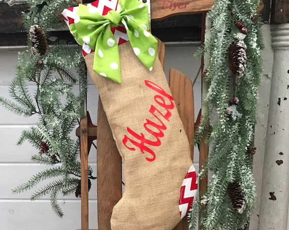 Christmas Stocking Burlap, Personalized Christmas Stocking, Kids Stocking, Custom Christmas Stocking, Christmas Home Decor