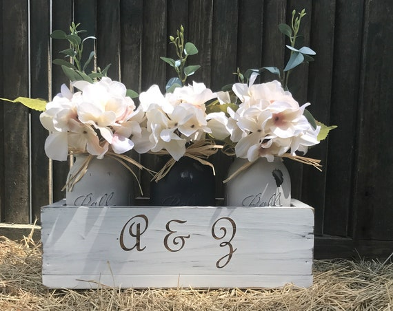 Valentine's Day Gifts Personalized Flower Box Rustic design, Personalization Valentine Gift