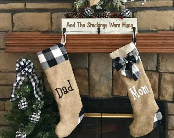 Christmas Stockings, Country Christmas, Christmas Decor, Buffalo Plaid Christmas, Farmhouse Rustic Decor, Stockings Name, Burlap Stockings