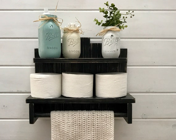 Towel Holder Bathroom Decor, Wood Shelves, Rustic Home Decor, Farmhouse Decor, Toilet Paper Holder, Bathroom Wall Decor