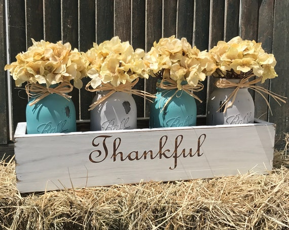 Table Decor, Floral Arrangement Centerpiece, Decor Thanksgiving Table, Hydrangea, Wedding Gift, Home Decorations, Rustic Table Arrangement
