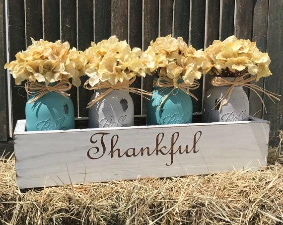 Fall Mason Jar Centerpiece, Thankful Centerpiece, Fall Centerpiece, Mason Jar Fall Decor, Fall Wood Sign