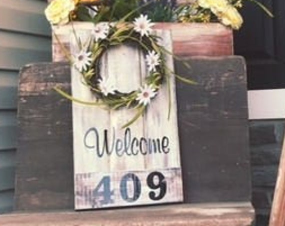 Farmhouse Wreath for Front Door, Spring Wreath House Numbers, Housewarming Gift