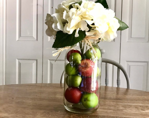 Kitchen and Dining Table Centerpiece Arrangement, Apples, Green Apples and Pears in a Mason Jar filled with Hydrangeas, Kitchen Gift