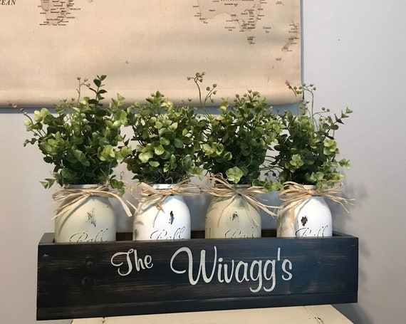 Farmhouse Living Room Decor Wood Planter Box Custom with Family Last Name Comes with Four Mason Jars filled with Boxwood Greenery