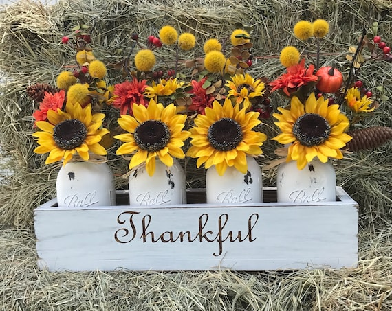 Fall Decorations, Floral Arrangement, Fall Home Decoration, Thanksgiving Decoration, Sunflower Decor, Mason Jar, Farmhouse Decorations, Fall