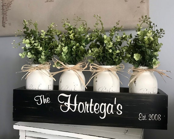 Kitchen and Dining Room Floral Arrangement Modern Home Decor Centerpiece Personalized painted Mason Jars and Flowers hydrangeas or Greenery
