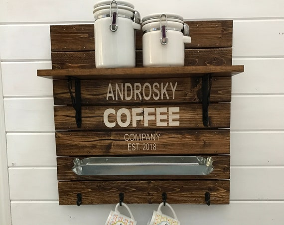 Personalized Coffee Sign with Coffee Mug Rack Kitchen Decor Variety of Colors you'll love. Pick your Color Now