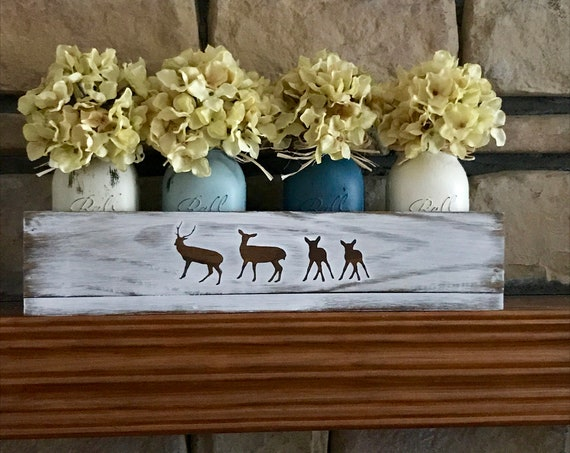 Rustic Mason Jars, Fall Centerpiece Floral Arrangement, Fireplace Mantel, Wood Box, Personalized, Deer Family