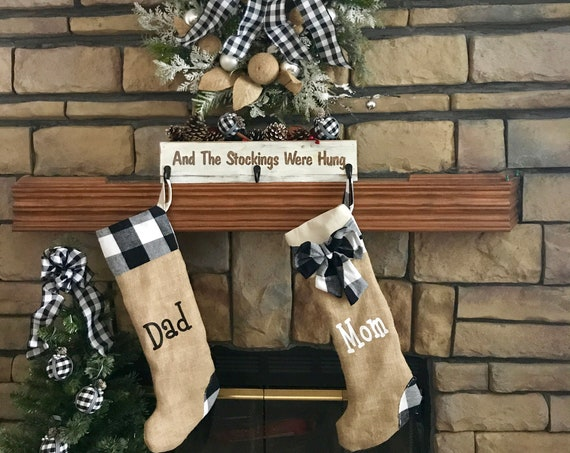 Personalized Christmas Stockings, Farmhouse Christmas Decor, Buffalo Plaid Stockings, Couple Stockings, Stockings for Christmas, Burlap