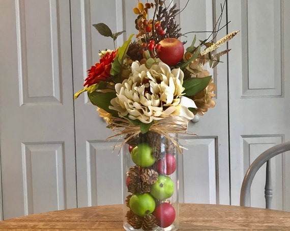 Farmhouse Fall Autumn Apple Arrangement for Kitchen, Dining Room, Living Room or Master Bedroom, Comes with Fall Color Trend for Home Decor