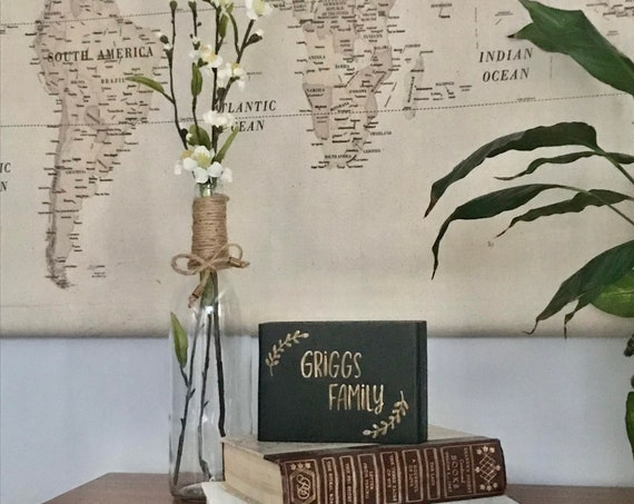 Personalized Last Name Wood Sign with Glass Vase with Floral Arrangement make wooden sign custom with Family Name and Established Date