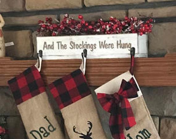 Stocking Holder, Christmas Decor, Christmas Stocking Holder, Rustic Christmas, Rustic Stocking Holder, Stocking Hooks, Holiday Decor