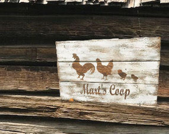 Rustic Personalized Sign, Chicken Coop Sign, Personalized Chicken Sign, Chicken, Rustic Farmhouse Decor, Rustic Home & Living, Personalized