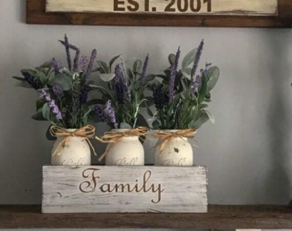 Lavender Filled Mason Jar Floral  Table Decoration Centerpiece, Lambs ear flower Arrangement